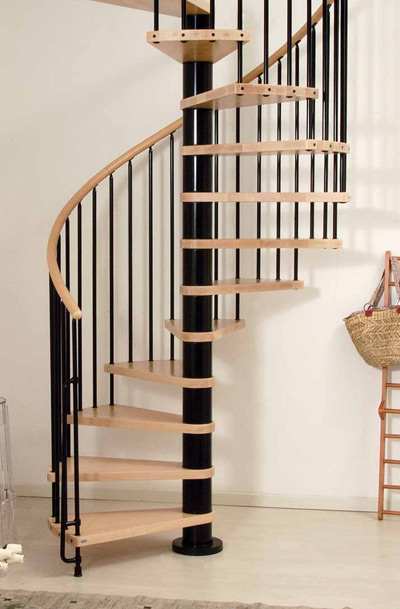 Phoenix wood tread spiral staircase kit metal steel and for Balustrade bois interieur